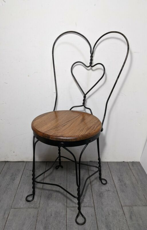 Vintage Ice Cream Parlor Chair Twisted Wrought Iron Heart Hairpin Legs Wood Seat