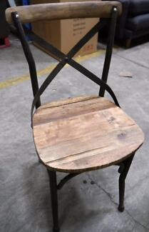 New Industrial Metal Rustic Recycled French Timber Chairs Stools Richmond Yarra Area Preview