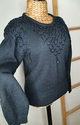 80s Sweatshirts, Sweaters, Vests | Women Designed By Young Action Black Beaded Sweater Jumper Size M $28.21 AT vintagedancer.com