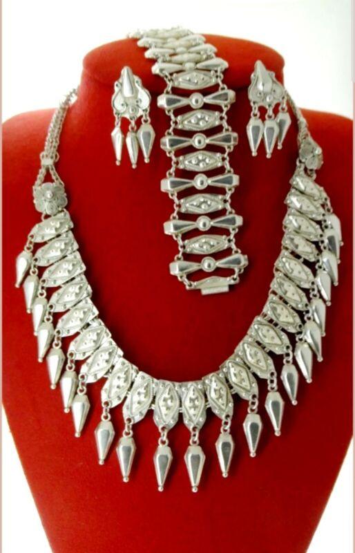 Chatelaine Sterling Silver 925 Vintage Necklace Bracelet Earring Parure Set $799