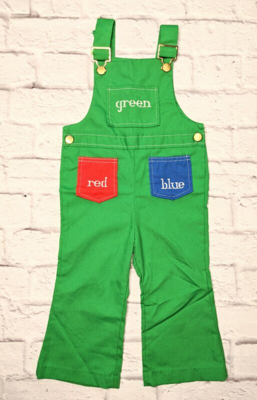 Vintage Healthtex Flared Overalls Toddler 3T Green Embroidered Colors