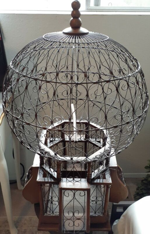 Vintage Victorian/Tunisian Style Wood & Wire Spherical BirdCage, Rare and Pretty