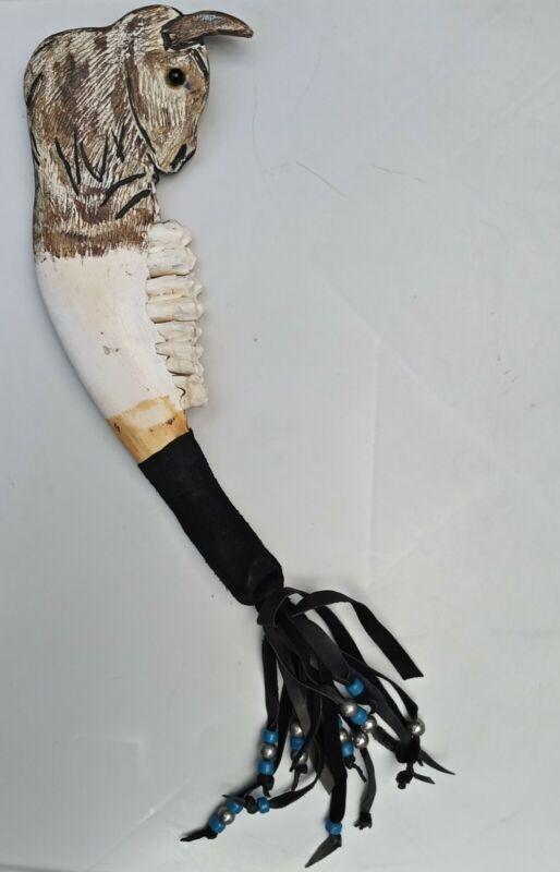 "Genuine Buffalo Skull Jaw Bone w/ teeth Tomahawk Decrotive Souvenir 12.5"""