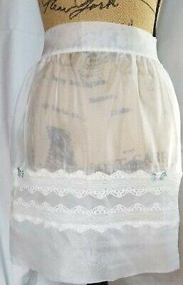 Vintage Aprons, Retro Aprons, Old Fashioned Aprons & Patterns Vintage Apron Half White Lace 2-Pocket  $10.00 AT vintagedancer.com