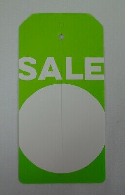 Qty. 100 Sale Tags With Slit Merchandise Tags Green White