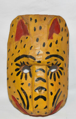 Primitive Mexican Dance Ceremonial Mask Hand Carved/Painted Folk Art Tiger Mask