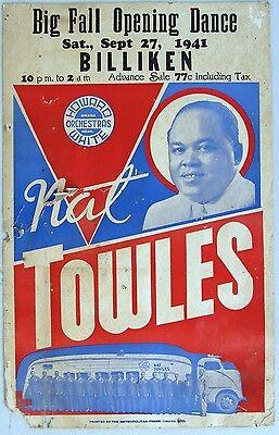 NAT TOWLES, Omaha, Nebraska, Boxing Style Concert Poster, 1941  RARE!