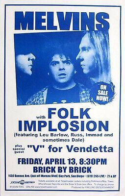 """MELVINS/FOLK IMPLOSION/""""V"""" FOR VENDETTA 2001 SAN DIEGO CONCERT TOUR POSTER-Metal"""