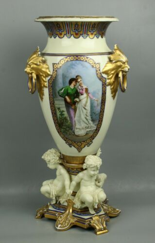 "23"" 19C French hand painted porcelain Vase with Three Cherubs"