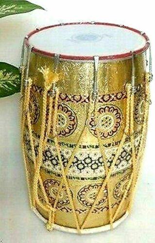 Folk Musical Instrument MeenaKari Work Mango Wood Punjabi Bhangra Dhol With Bag