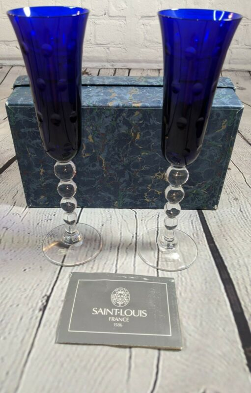 Saint-Louis France Blue Champagne toasting Flutes