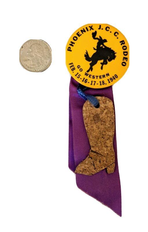 1940 Vintage SOUVENIR Phoenix J.J.C. RODEO RIBBON PIN  Cowboy Horse Go Western