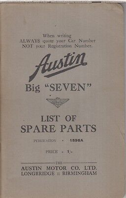 AUSTIN BIG 7 SEVEN SALOON ORIGINAL 1938 FACTORY ILLUSTRATED SPARE PARTS LIST