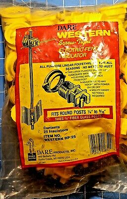 Dare Western Screwtight Electric Fence Rod Post Insulators All Weather 25 Pack
