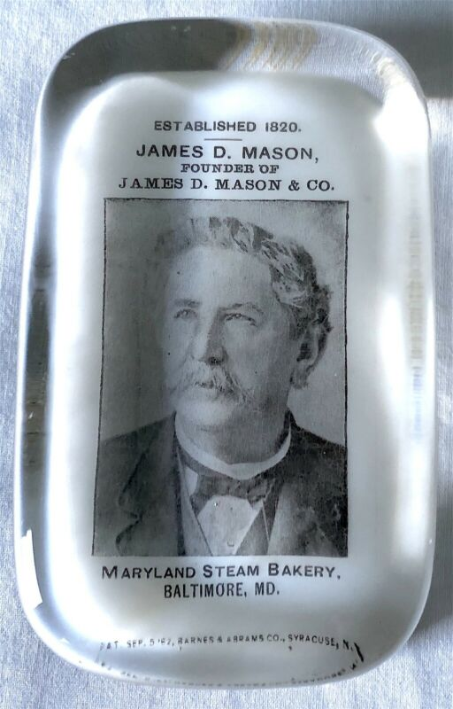 Antique Pictoral Glass Advertising Paperweight