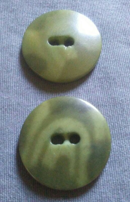 Vintage Pair of Green Vegetable Ivory Buttons.