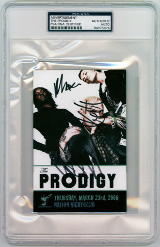 The Prodigy signed postcard Liam Howlett, Keith Flint, Maxim *PSA AUTHENTICATED*