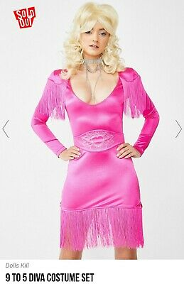 Dolls Kill Halloween Costumes (Dolls Kill Sold Out Dolly Parton Costume Pink Fringe Dress Wig Included NWOT)