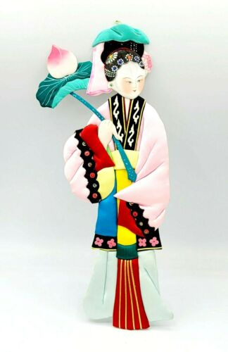 """Vintage Asian Handcrafted Paper Doll Satin Silk 12 1/4"""" Hand Painted Ornament"""