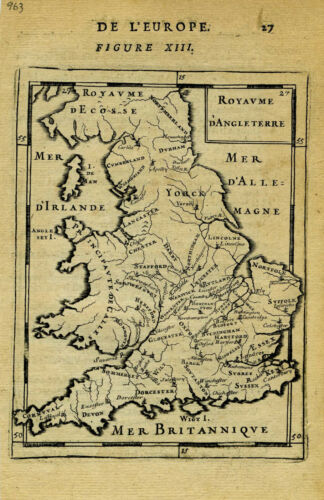 1683 Genuine Antique map Great Britian, England. A M Mallet