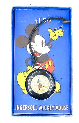 Vintage Ingersoll Mickey Mouse Pocket Watch w/ Lapel Cord and Original Box