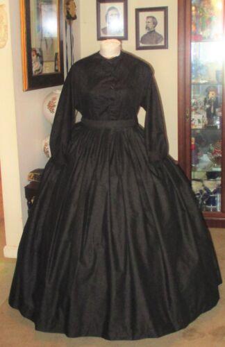 CIVIL WAR DRESS~VICTORIAN~CUSTOM MADE~JETT BLACK MOURNING~DAY SKIRT & BLOUSE SET