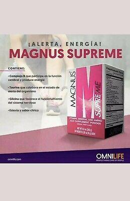 . Magnus Supreme omnilife energy drink mas energia caja / 30 sobres.