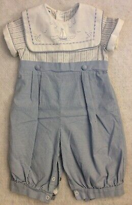 Vintage Peter Pan Collar Boys Outfit Sz 6M Blue Easter Embroidered Boats USA NEW - Peter Pan Outfit