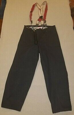 Vintage Body Guard Black Fire Pants Firefighter Suspenders Bunker Turnout Gear