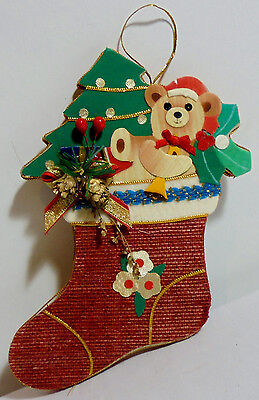 CHRISTMAS VTG 80's 7'' RED SOCK WALL DECOR HAND-MADE WOOD VALAVANIDES GREEK - 80s Xmas Decorations