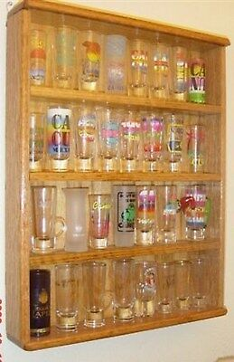 - oak 4 inch shot glass display case shelf plexi front