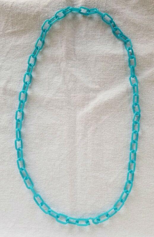 80s Vintage Blue Link Charm Clip Necklace Bell
