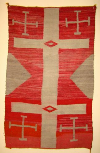 Antique Navajo Child or Double Saddle Blanket Native American Rug Crosses