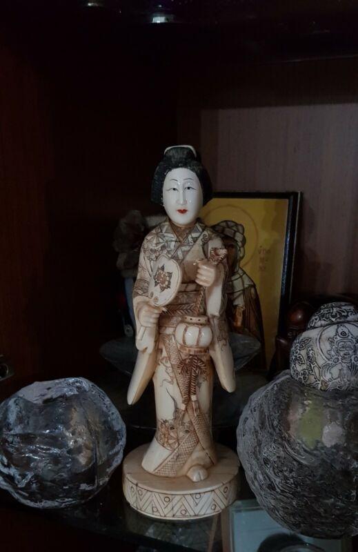 Nice Japanese Carved Antique Bovine Okimono Geisha (19th -20th Period)