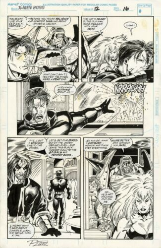 X-MEN 2099 #12 PAGE 16 Original Art by RON LIM/HARRY CANDELARIO 1994 Xi