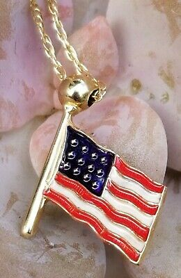 Gold American Flag Pendant Necklace-14k Gold Enamel Pendant Necklace-Scrap  Wear (Gold Enameled Flag Pendant)