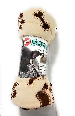 Dog Pet Blanket Snuggle cream bones /paws
