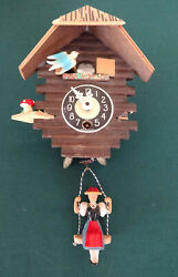 Vintage Miniature Cuckoo Clock Chalet With Bouncing Girl On Swing And Bird