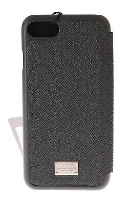 NEW $280 DOLCE & GABBANA Phone Case Gray Dauphine Leather Silver Logo iPhone7