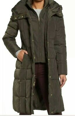 Cole Haan Signature Womens Down Fill Hooded Puffer Coat SZ 1XL Olive (Cole Haan Signature Hooded Down Puffer Coat)
