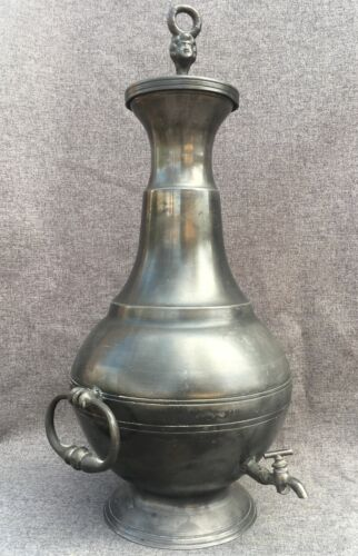 Heavy antique french water wine fountain made of pewter early 1900