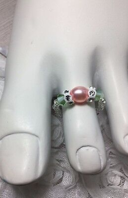 Handmade Healing Pink Pearl Swarovski Elements Stretch Toe Ring USA