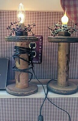 Wooden Textile Spool Light Lamp Country Rustic Primitive Vintage 10