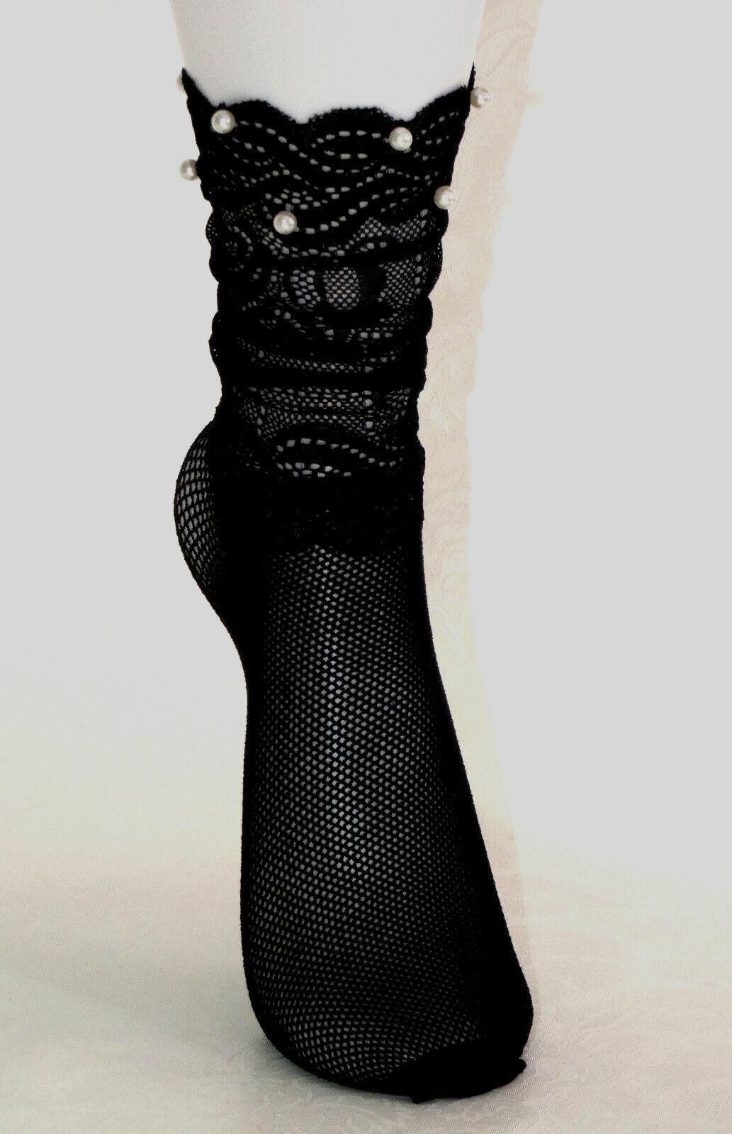 Netz Strumpfe Socken Füsslinge Neztstrümpfe Fischnetz Schleife mit Perle Spitze