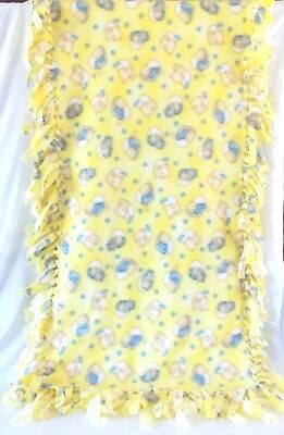 Yellow w/Kitties Puppies No-Sew Fleece Baby Blanket 24