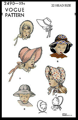 "BABY BONNET Sewing Pattern VOGUE 2490 Children's GIRL KIDS Hats 22"" Colonial VTG"
