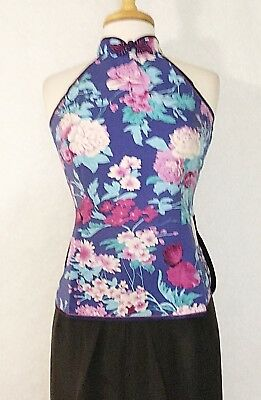 Floral Printed Halter Top (Traditional Chinese Women Halter Top Blouse Silk with Floral)
