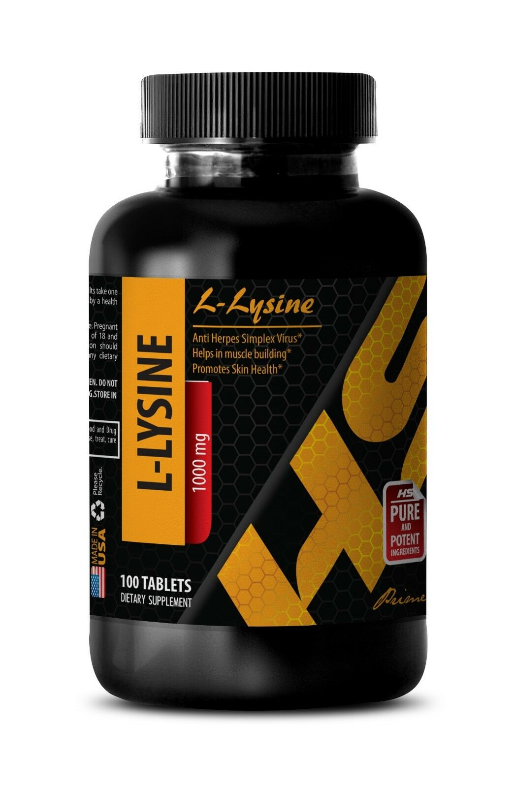 amino acid capsules - L-LYSINE 1000mg - herpes cure - 1 Bottle