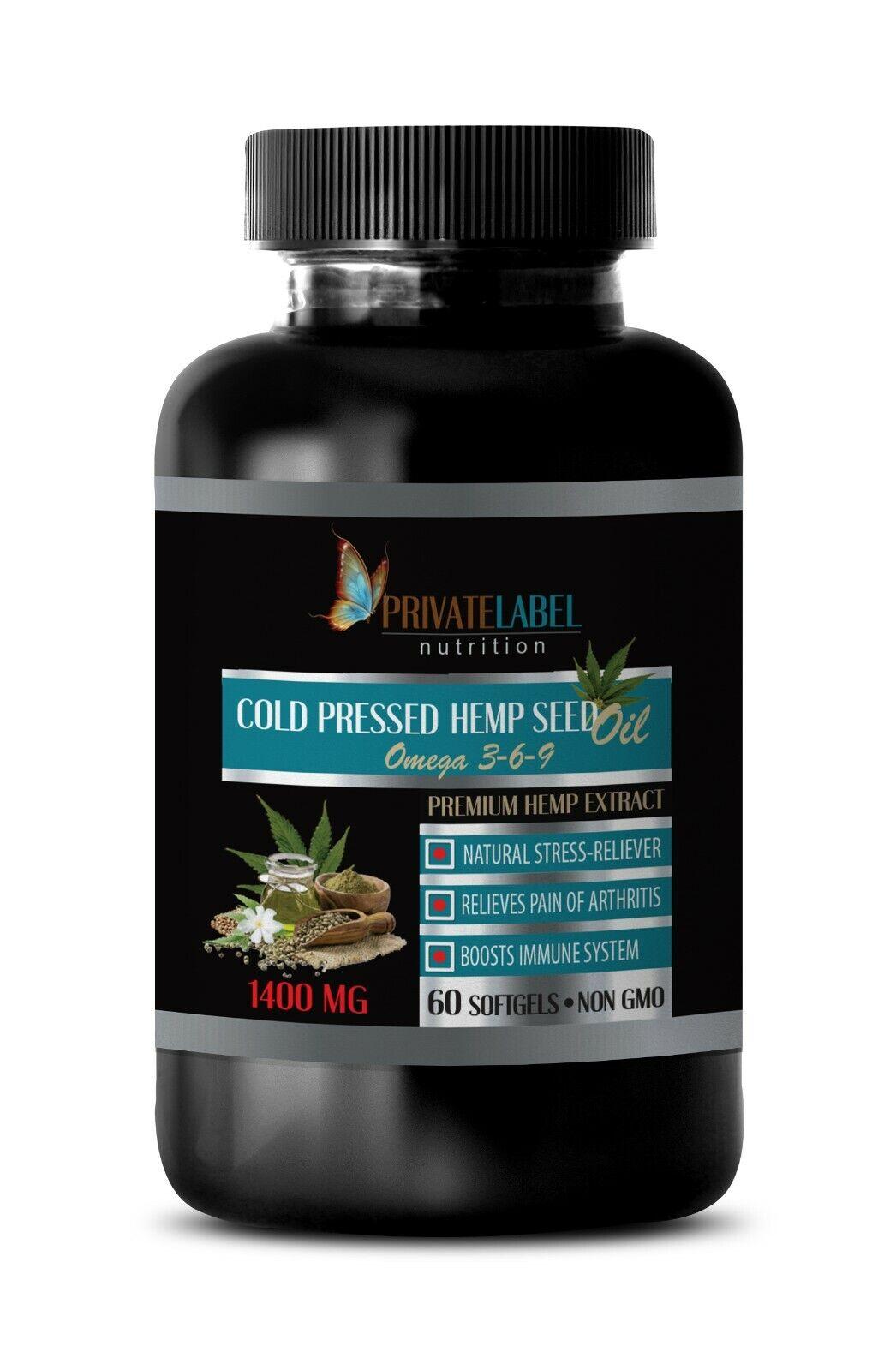 hemp oil capsules - ORGANIC HEMP SEED OIL 1400mg - hemp oil for pain - 60 Caps