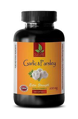 Garlic Parsley 100 Capsules - odorless garlic - GARLIC & PARSLEY - parsley capsules - 1 Bottle 100 Softgels